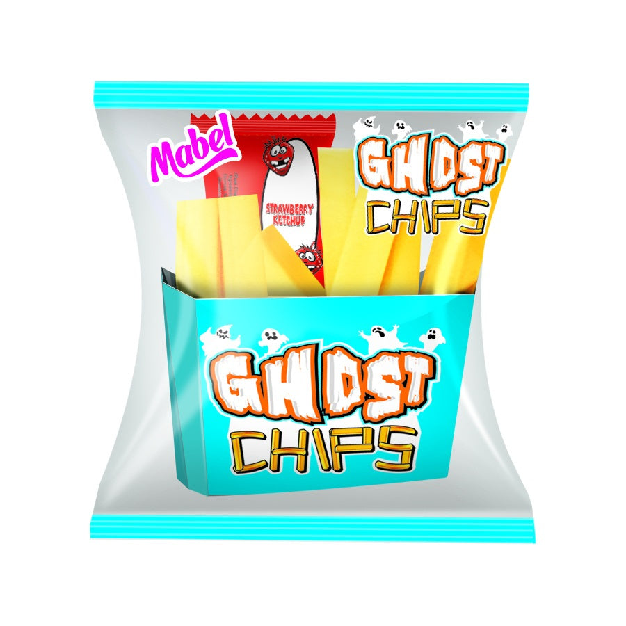 Bubblegum Ghost Chips with Strawberry Ketchup