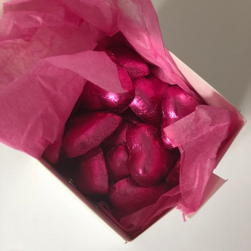 Red Foil Chocolate Hearts in Box 250g