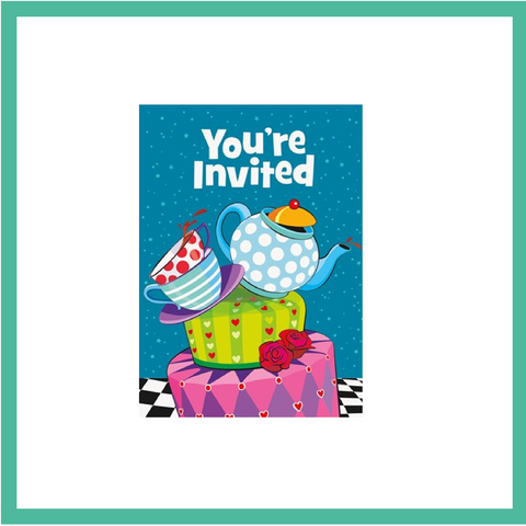Mad Hatter's Tea Party Invitations and Envelopes x 8
