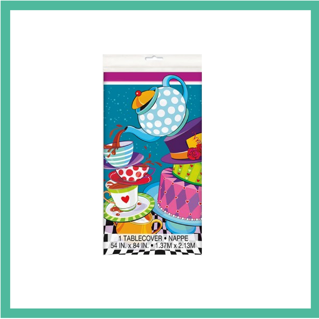 Mad Hatter's Tea Plastic Table Cover 1.37m x 2.13m