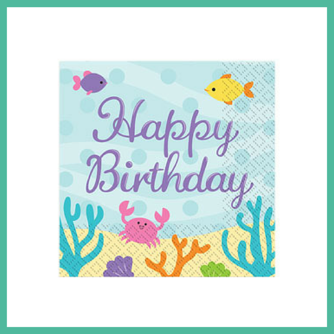 Mermaid Friends Happy Birthday Napkins x 16
