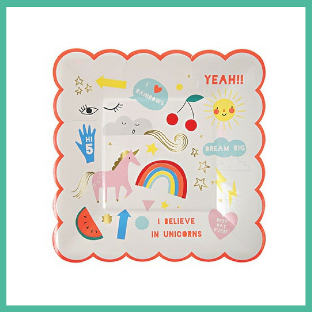 Rainbow Unicorn Party Plates