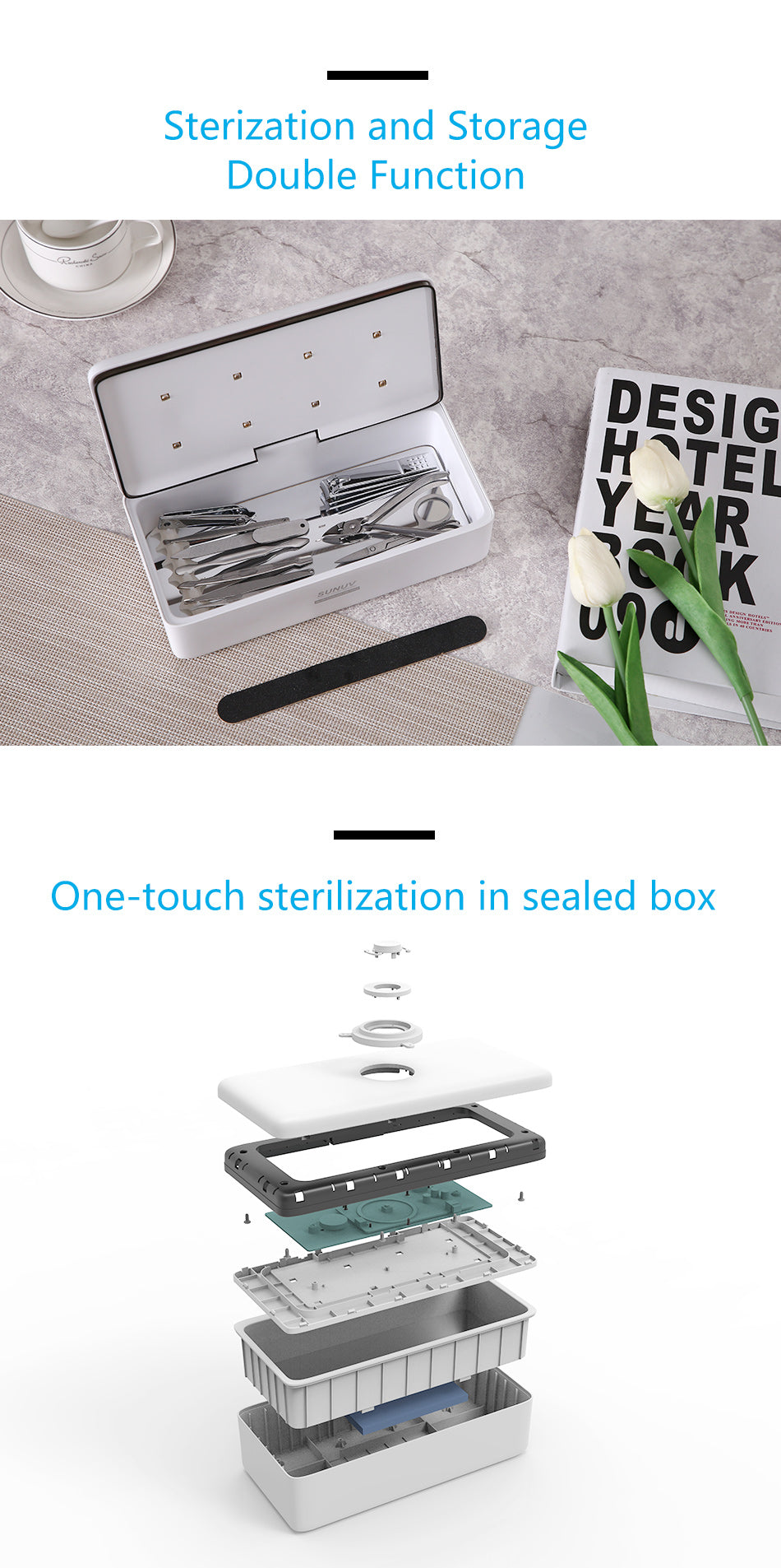 S2 UV Light Sterilizer Storage Box for Nail Art Salon