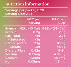 Pink Pitaya Nutritional Panel - Just Blends Superfoods