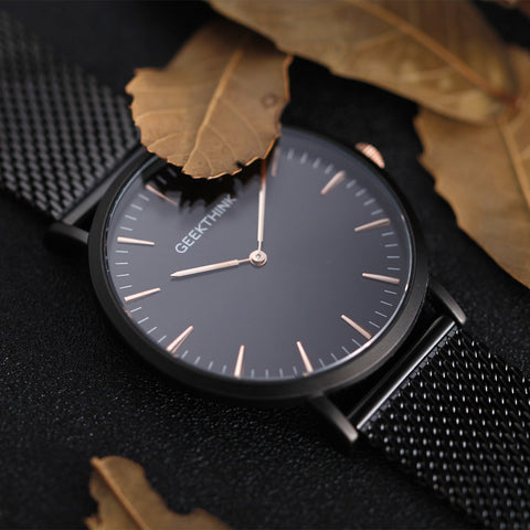 Luxury Quartz Watch with Stainless Steel Mesh Strap