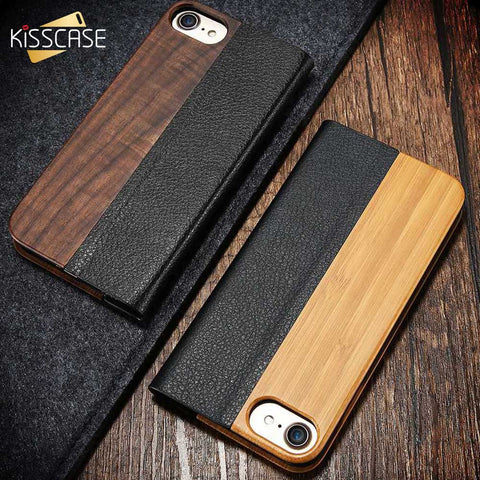 Retro Natural Wood Bamboo Case with Leather Flip Card Slot for iPhone 6S 6 7 Plus