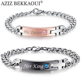 "Cute Couple Semi-precious Bracelet, ""His Queen"" and ""Her King"""