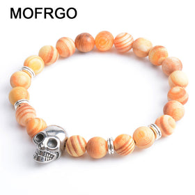 Natural Wooden Beads Tibetan Mala Prayer Beads Handmade Punk Skull Natural Beads Fashion Bracelet For Man Women Jewelry