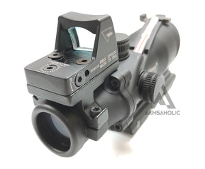 ACM ACO 4x32 Red Fiber Scope with RMR Sight A-Style Mount  (Black) for Tactical Airsoft