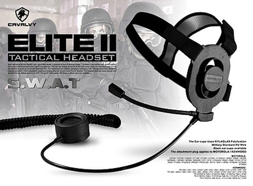Cavalvy Elite II Tactical Headset ( Black / Motorola Talkabout )