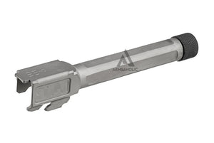 Guns Modify S-Style KM Stainless Steel Thread Outer Barrel for Marui G17 GBB (Fluted/Silver) CW 14MM
