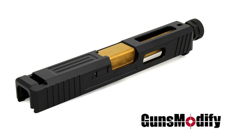 Guns Modify SA T1 Aluminum Slide / Gold Stainless Threaded Barrel CCW Set For Marui G19