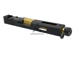 Guns Modify SA Style Slide Threaded Stainless Barrel (Gold) Housing & Parts for Marui G17 #GM0423