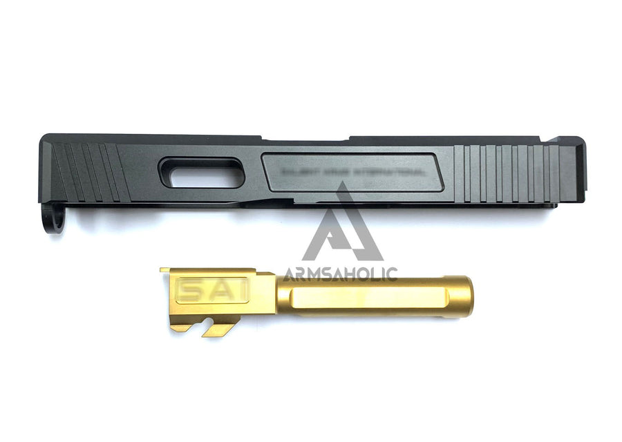 GunsModify SA Aluminium CNC Slide/Stainless 4 fluted Gold barrel Set for Marui G19