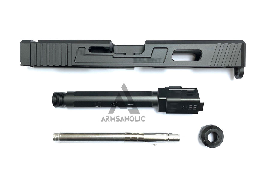 Guns Modify SA Aluminum CNC Slide & Stainless 4 fluted Threaded black barrel Set for Marui G17/22