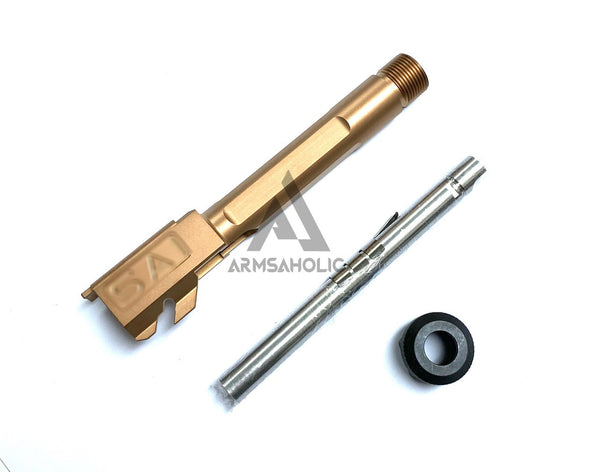Guns Modify S-Style Stainless Steel Thread Outer Barrel for Marui G19 GBB (Nitride/Golden) CCW 14MM