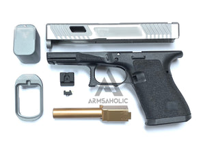 Nova T-Style JW G19 Aluminum Slide Kit for TM Tokyo Marui Airsoft G19 GBB Series - Shiny Gray