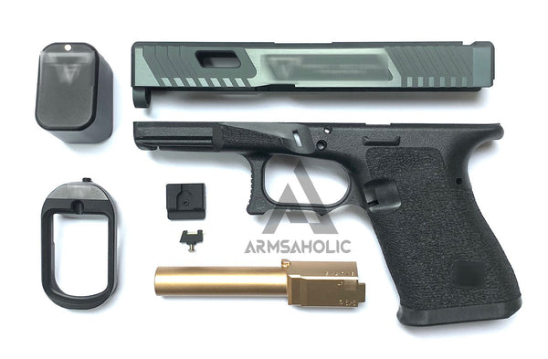 Nova T-Style JW G19 Aluminum Slide Kit for TM Tokyo Marui Airsoft G19 GBB Series - Shiny Black