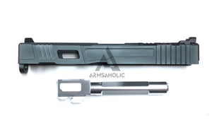 Nova FI-Style 17 Aluminum Slide Set For Marui G17/22/34-Titanium Grey Slide & Silver Outer Barrel