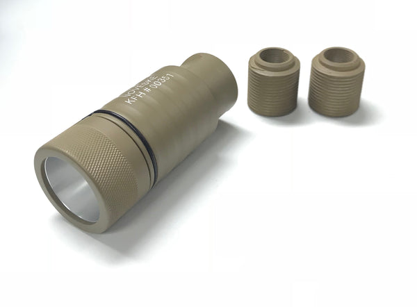 N style KFH Sound Amplifier Flash Hider (Tan) with 14mm CW & CCW adapter KFH#00351