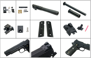 Nova S-style 1911 5inch Model CNC Aluminum Slide & Frame Kit for TM 1911 series - Black Barrel version