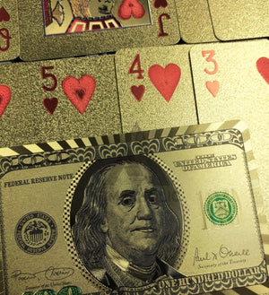 High Quality - Plastic Poker Playing Card Benjamin Franklin - Gold / Silver
