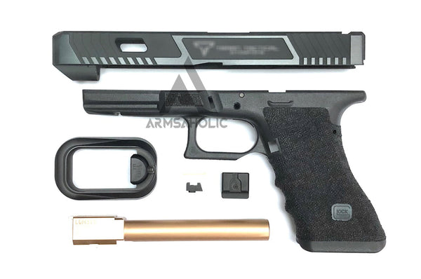Nova T-Style JW G34 Aluminum Slide Kit for TM Tokyo Marui Airsoft G17 / 34 GBB Series - Shiny Black