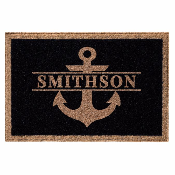 Infinity Custom Mats™ All-Weather Personalized Door Mat - STYLE: ANCHOR COLOR: BLACK