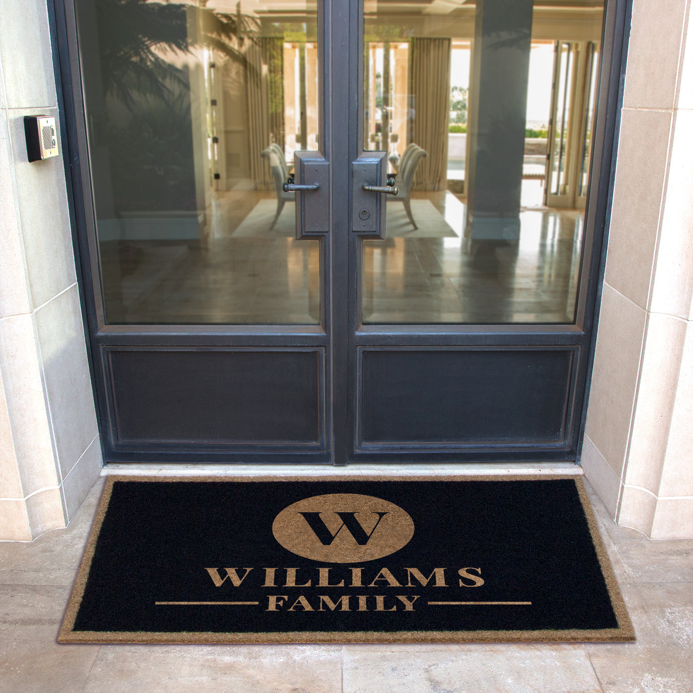 Infinity Custom Mats™ All-Weather Personalized Doormat - STYLE: CIRCLE COLOR:BLACK