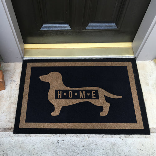 Infinity Custom Mats™ All-Weather Door Mat - STYLE: DACHSHUND HOME COLOR:BLACK