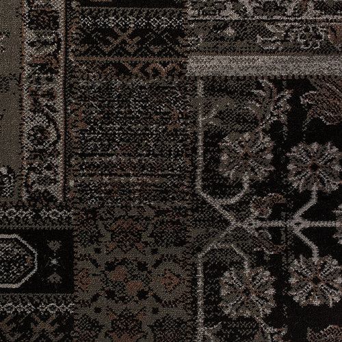 Black and grey oriental area rug