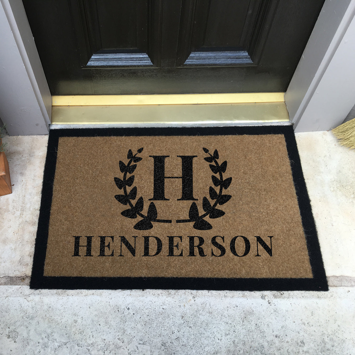 Infinity Custom Mats™ All-Weather Personalized Door Mat - STYLE: WREATH COLOR:TAN
