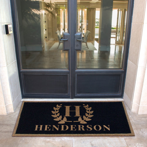 Infinity Custom Mats™ All-Weather Personalized Door Mat - STYLE: WREATH COLOR:BLACK