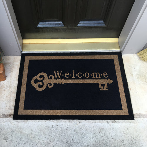 Infinity Custom Mats™ All-Weather Door Mat - STYLE: VINTAGE KEY WELCOME COLOR:BLACK