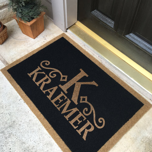 Infinity Custom Mats™ All-Weather Personalized Door Mat - STYLE: KRAMER COLOR: BLACK
