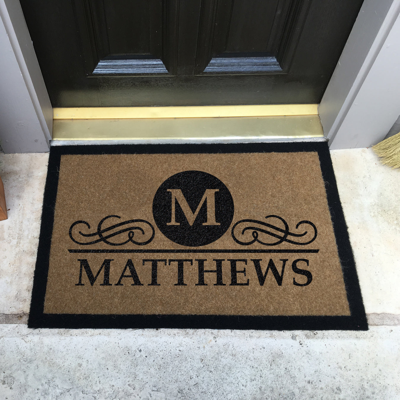 Infinity Custom Mats™ All-Weather Personalized Door Mat -.STYLE: MATTHEWS COLOR:TAN