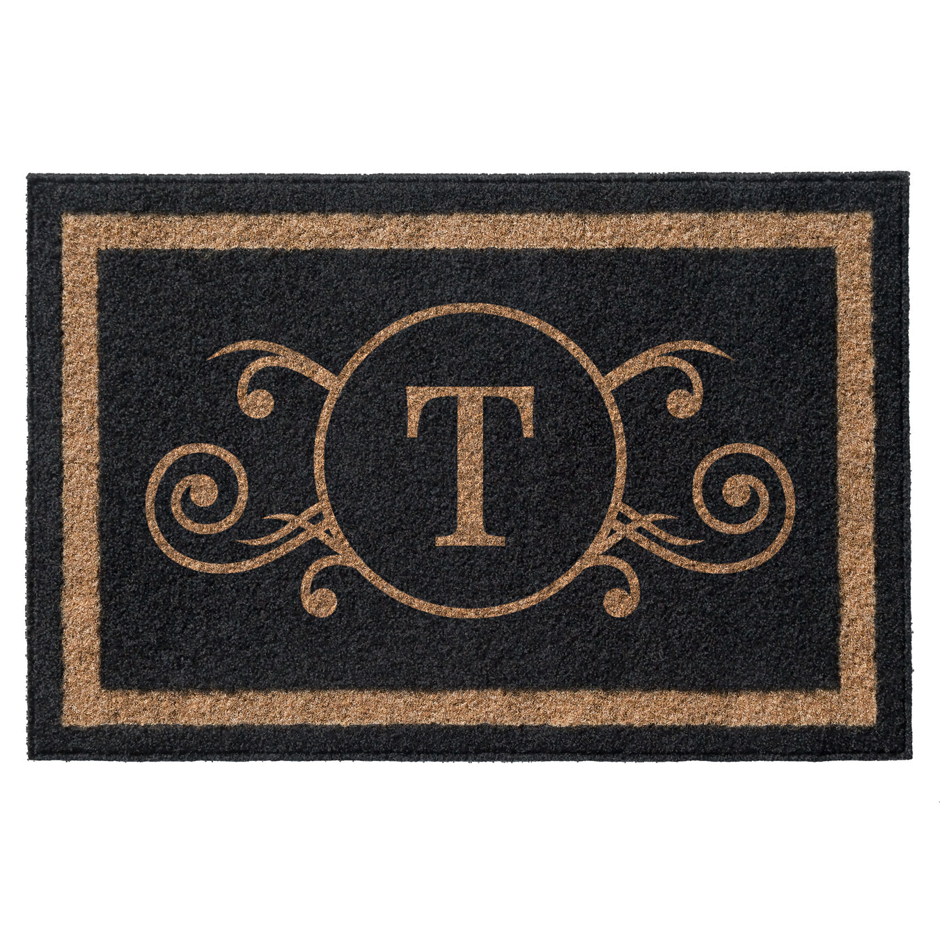 Infinity Custom Mats™ All-Weather Personalized Door Mat - STYLE: MONOGRAM SCROLL COLOR:BLACK