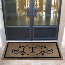 Infinity Custom Mats™ All-Weather Personalized Door Mat - STYLE: MONOGRAM SCROLL COLOR:TAN