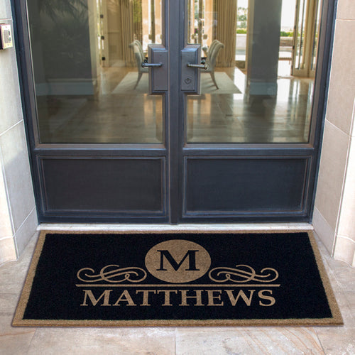 Infinity Custom Mats™ All-Weather Personalized Door Mat -.STYLE: MATTHEWS COLOR:BLACK