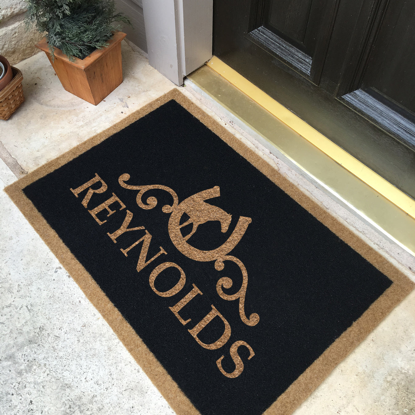 Infinity Custom Mats™ All-Weather Personalized Door Mat - STYLE: REYNOLDS COLOR:BLACK