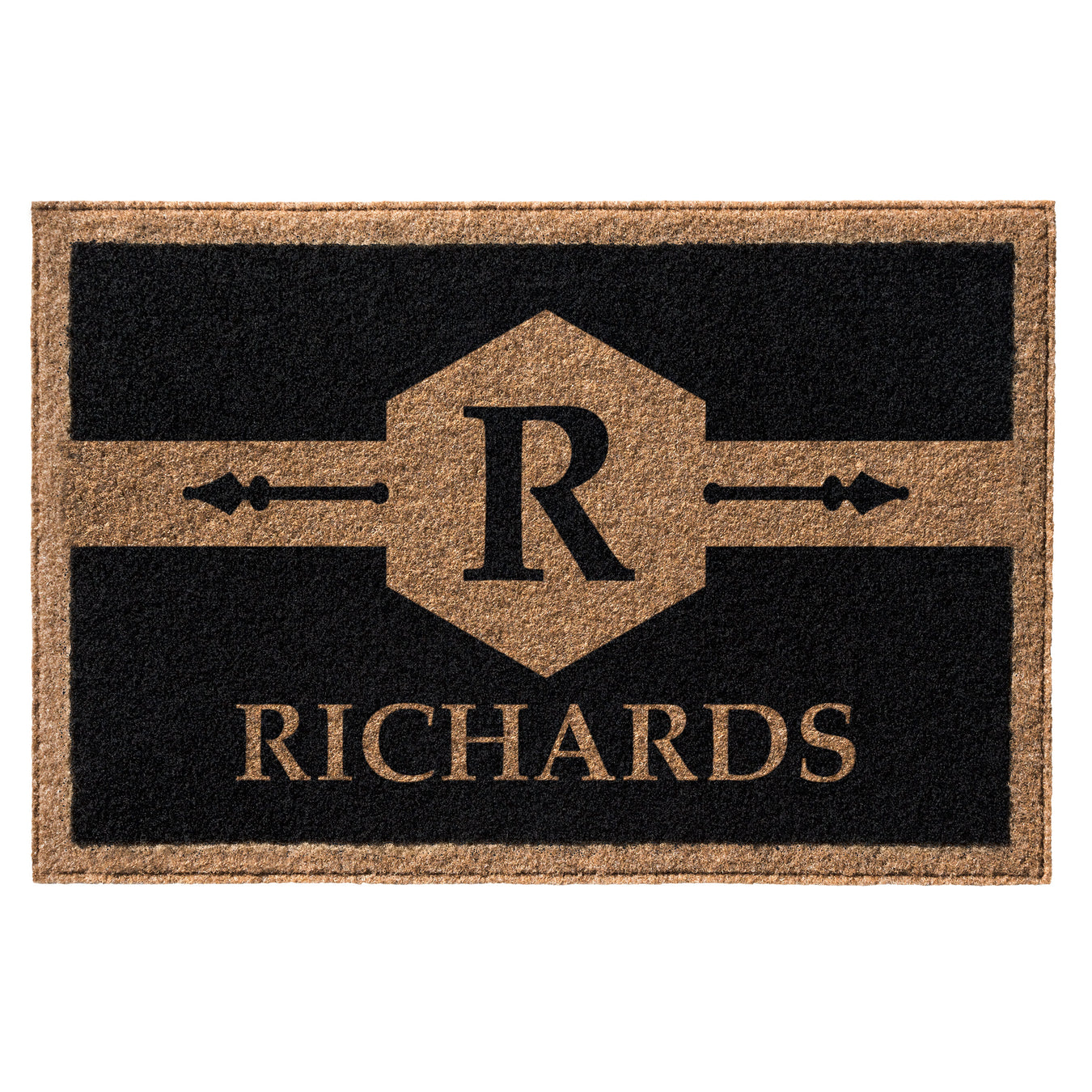 Infinity Custom Mats™ All-Weather Personalized Door Mat - STYLE: RICHARDS COLOR:BLACK