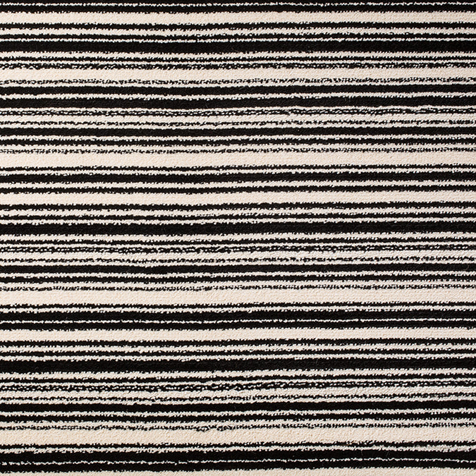 Cutting Edge Woven Custom Rug - Black/Cream Stripes of Distinction