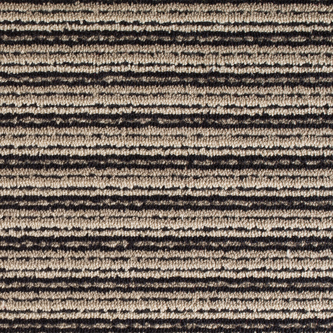 Linear Wool Woven Custom Rug - Black/Cream Opal
