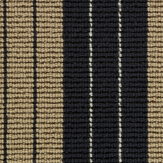 Lindsey 100% New Zealand Wool Woven Custom Rug - Black and Camel