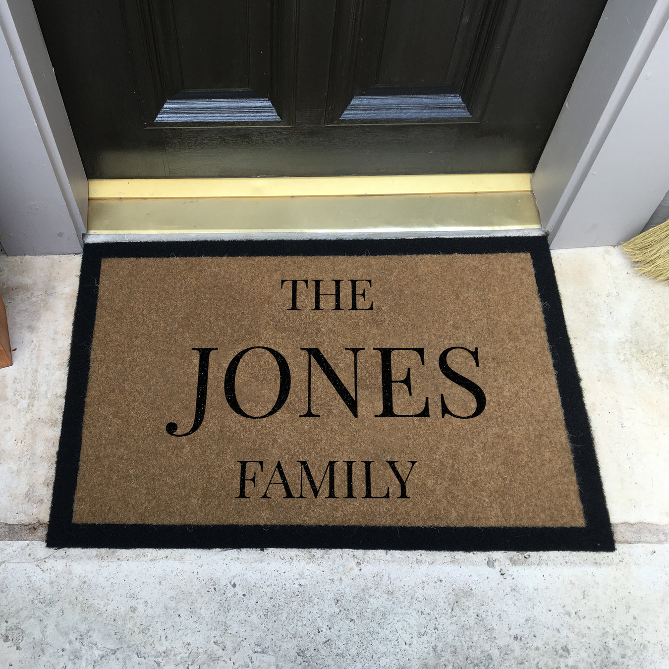 Infinity Custom Mats™ All-Weather Personalized Door Mat - STYLE: FAMILY COLOR: TAN