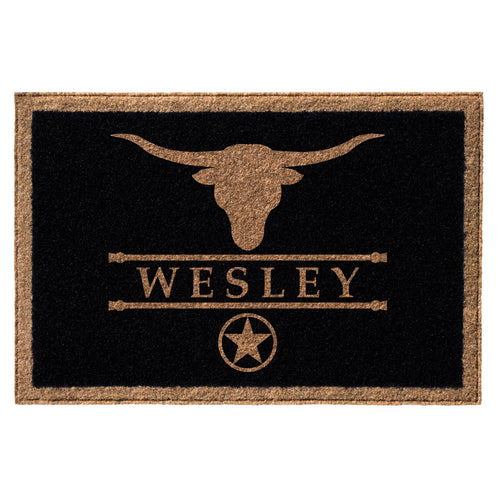 Infinity Custom Mats™ All-Weather Personalized Door Mat - STYLE: WESLEY COLOR:BLACK