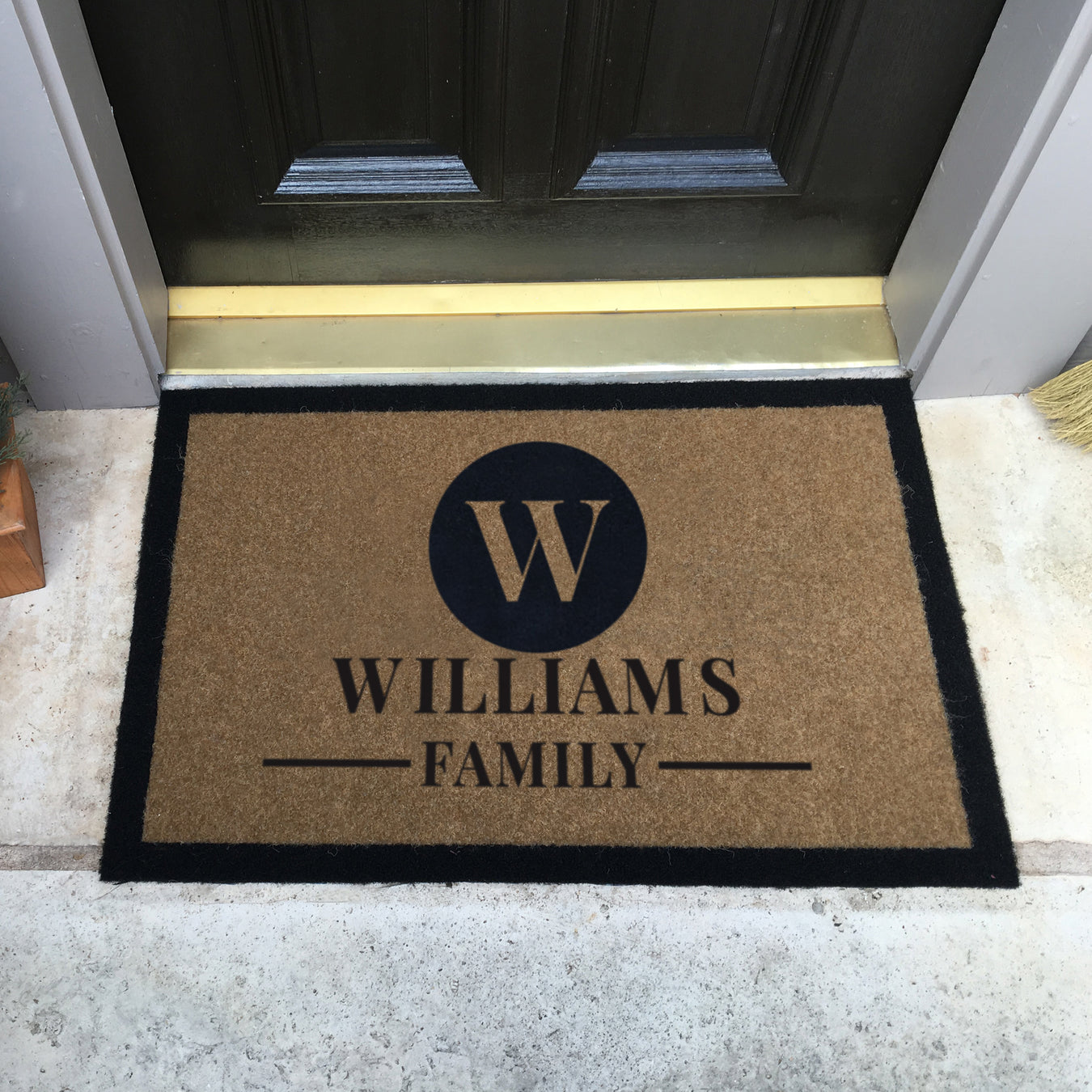 Infinity Custom Mats™ All-Weather Personalized Doormat - STYLE: CIRCLE COLOR:TAN
