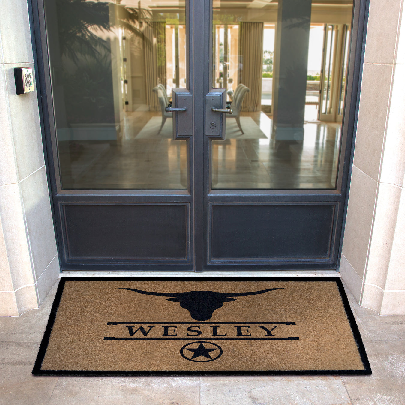 Infinity Custom Mats™ All-Weather Personalized Door Mat - STYLE: WESLEY COLOR:TAN