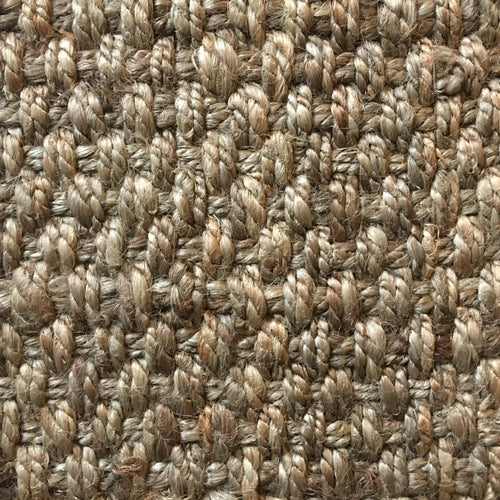 Fibreworks® Custom 100% Jute Rug with Matching Serged Border or Other Border Options- Cross Stitch 207 Taupe Grey