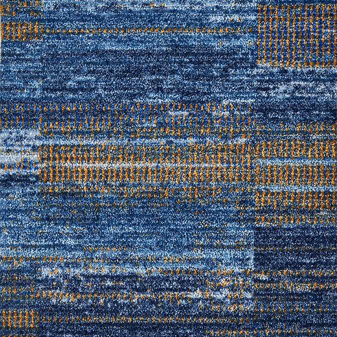 Blue and orange abstract area rug